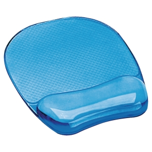 TAPIS SOURIS REPOSE-POIGNETS CRYSTAL GEL FELLOWES TRANSPARENT BLEU 91141