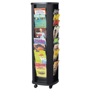 MOBILE LITERATURE CAROUSEL STAND - 40 COMPARTMENTS FOR A4 DOCUMENTS