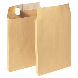 Bags 162x229x30mm peel and seal 120g brown - box of 100
