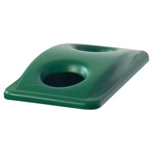 Coperchio con 2 fori per vetro/lattine per sistema Slim Jim Rubbermaid verde