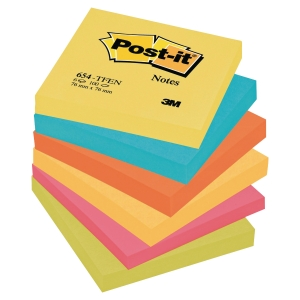 Pack 6 blocks notas adhesivas Post-it colores energía (neón) Dimens: 76x76mm