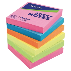 LOT 6 BLOCS NOTES ADHESIVES LYRECO 76X76MM COLORIS ASSORTIS INTENSES