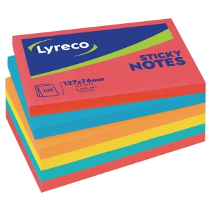 LOT 6 BLOCS NOTES ADHESIVES LYRECO 76X127MM COLORIS ASSORTIS INTENSES
