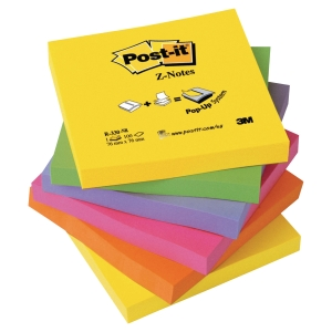 Post-it® Z-notes R330NR 76mm x 76mm neon rainbow assortert pakke a 6 blokker