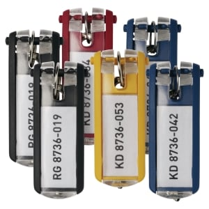 Durable Key Clips Assorted - Pack of 6