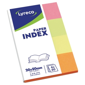 LYRECO PAPER INDEX 20 X 38 - 4 ASSORTED COLOURS