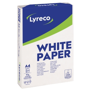 RM500 LYRECO PAPER A4 80G 4HOLE PUNCH WH