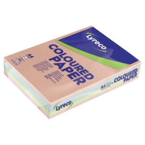 Ramette 500 feuilles papier Lyreco 80g 5 couleurs pastel assorties A4