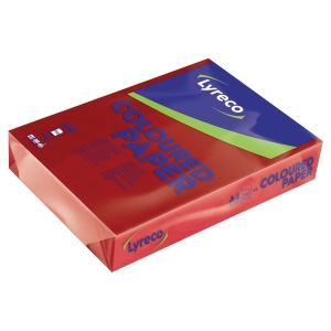 LYRECO INTENSE COLOURED PAPER A4 160G RED - REAM OF 250 SHEETS