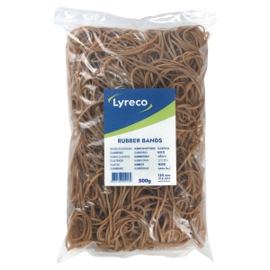 LYRECO RUBBER BANDS 2MM X 120MM - 500G BOX