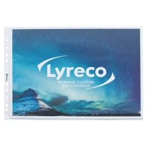 LYRECO A3 MULTI-PUNCHED LANDSCAPE PLASTIC POCKETS 80 MICRONS - PACK OF 10