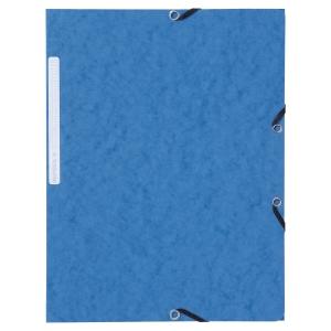 Lyreco chemises à 3 rabats avec élastiques carton 390g bleu - paquet de 10