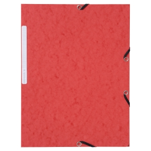 LYRECO PRESSBOARD RED A4/FOOLSCAP 3-FLAP FILES WITH ELASTIC - PACK OF 10