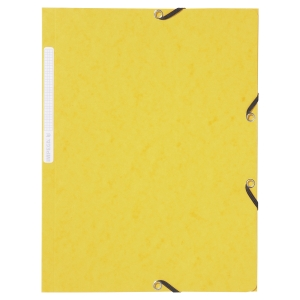 LYRECO PRESSBOARD YELLOW A4/FOOLSCAP 3-FLAP FILES WITH ELASTIC - PACK OF 10