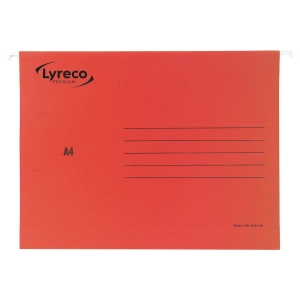 LYRECO PREMIUM RED A4 SUSPENSION FILES V BASE - BOX OF 25