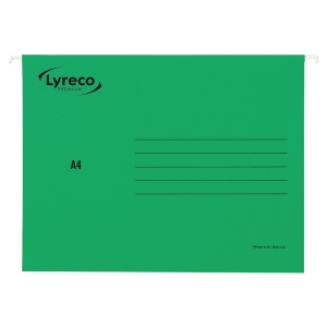 LYRECO PREMIUM GREEN A4 SUSPENSION FILES V BASE - BOX OF 25