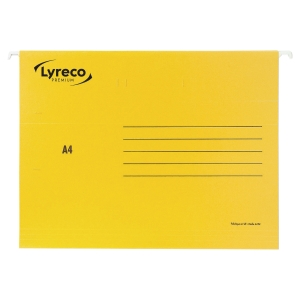 LYRECO PREMIUM YELLOW A4 SUSPENSION FILES V BASE - BOX OF 25