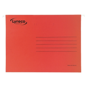LYRECO PREMIUM RED FOOLSCAP SUSPENSION FILES V BASE - BOX OF 50
