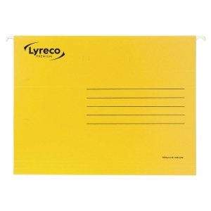 LYRECO PREMIUM YELLOW FOOLSCAP SUSPENSION FILES V BASE - BOX OF 50