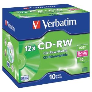 Verbatim CD-RW 80Min 700Mb 8 - 12X - Pack of 10