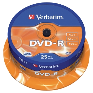DVD-R 4.7 GB 120 MIN VERBATIM - CONF.SPINDLE DA 25