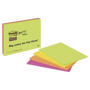 Pack 4 Blocos notas adesivas Post-it Super Sticky XL (45h/Bloco) Dim:152x203mm