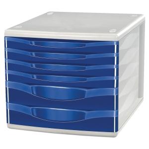 Skuffekabinet Lyreco, med 6 skuffer, blå