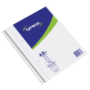 CAHIER SPIRALE INTEGRALE LYRECO A5+ 160 PAGES MICROPERFOREES QUADRILLEES 5X5