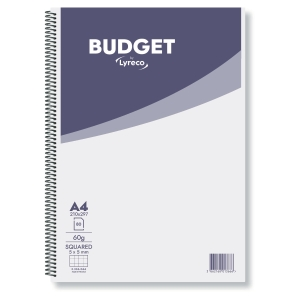 CAHIER SPIRALE LYRECO BUDGET A4 60G 160 PAGES QUADRILLEES 5 X 5