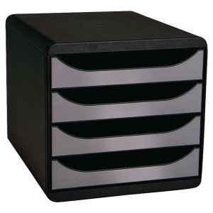 MODULE BIG BOX EXACOMPTA EN POLYSTYRENE CHOC ANTISTATIQUE NOIR/ARGENT