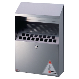 Durable Wall Mounted Ashtray Bin Silver - 4 Litre Capacity