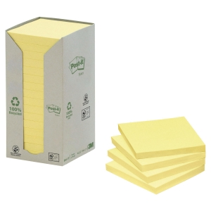 Pack 16 Blocos notas adesivas Post-it recicladas amarelo (100fh/Bloco) 76x76mm