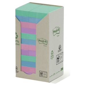 Post-it® Recycled Notes Pastell Färger 653-1RPT 51mm x 38mm 24 Block/Fp