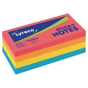 LOT 12 BLOCS NOTES ADHESIVES LYRECO 51X38MM COLORIS ASSORTIS INTENSES