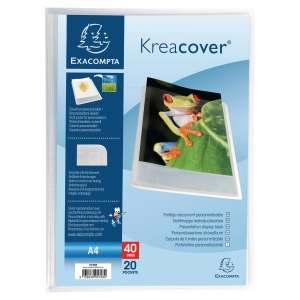 KREACOVER TRANSLUCENT CLEAR A4 DISPLAY BOOK 20 POCKETS