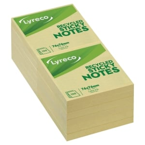 Lyreco notes recycled 76mm x 76mm gul pakke a 12 stk.