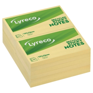 Lyreco notes recycled 76mm x 127mm gul pakke a 12 stk.