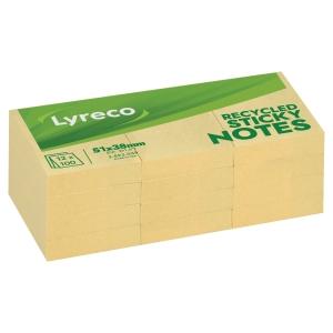 Notisblock Lyreco, 38 x 51 mm, gula, av återvunnet material, förp. med 12 st