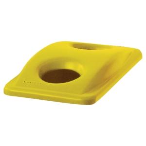 Coperchio con 2 fori per vetro/lattine per sistema Slim Jim Rubbermaid giallo