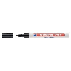 EDDING 751 BULLET TIP BLACK PAINT MARKER - BOX OF 10