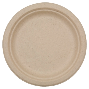 PAQUET DE 50 ASSIETTES EN FIBRES  DE CANNE A SUCRE COMPOSTABLES 22 CM NATUREL