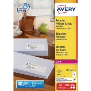 BOITE 1600 ETIQUETTES ADRESSES RECYCLEES LASER AVERY 99,1X33,9MM BLANCHES LR7162