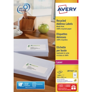 BOITE 1400 ETIQUETTES ADRESSES RECYCLEES LASER AVERY 99,1X38,1MM BLANCHES LR7163