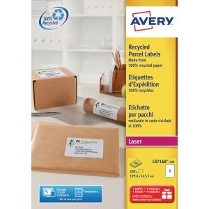 Etiquette adresse recyclée Avery - LR7168 - 199,6 x 143,5 mm - blanche - par 200