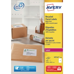 BOITE 100 ETIQUETTES D EXPEDITION RECYCLEES LASER AVERY 199,6X289,1MM LR7167