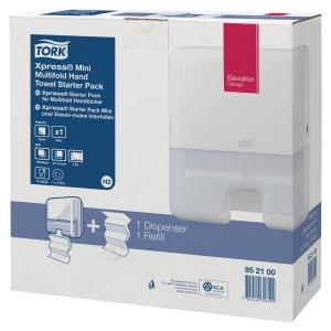 Pack de dispensador y toallas TORK H2 de 300x295x100mm de color blanco