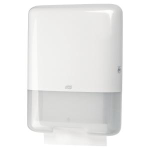 Dispenser Tork H3, för pappershanddukar av Zig-Zag och Centerfold-typ, vit