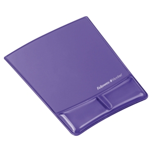 FELLOWES PURPLE CRYSTAL GEL MOUSE PAD WRISTREST WITH MICROBAN