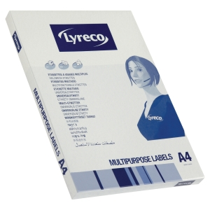 LYRECO MULTIPURPOSE L7159 ADD LABEL 24LABELS/SHEET 64X33.8MM WHITE PK 100 SHTS