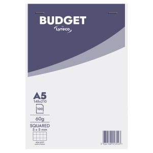 Lyreco Budget schrijfblok A5 geruit 5x5mm geniet 100 vellen